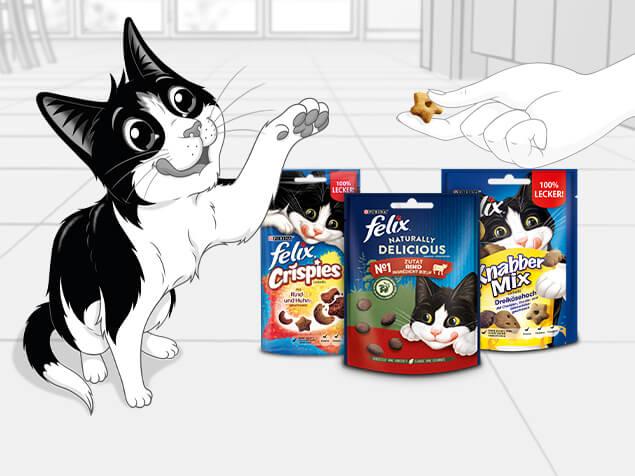 Felix mit Produkten
